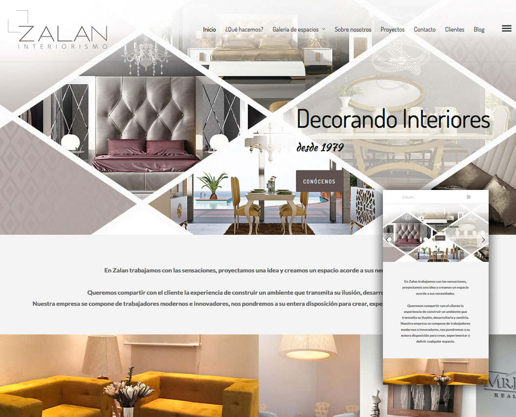 dise o de p gina web zalan interiorismo bluefactory studios