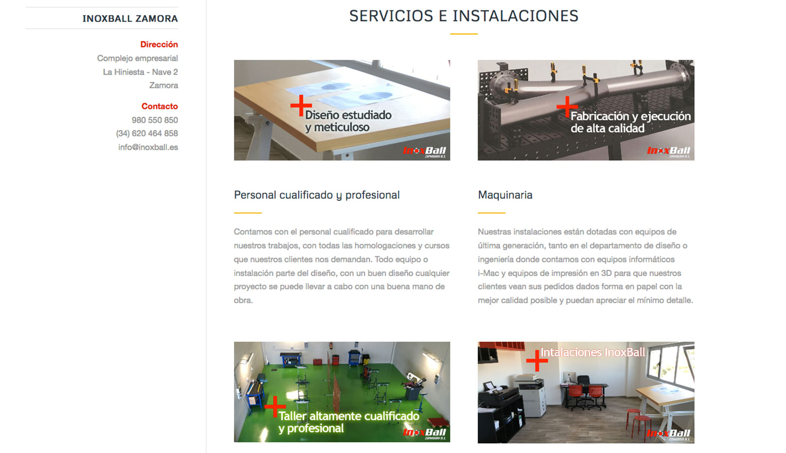 diseño web carpintería metálica Inoxball