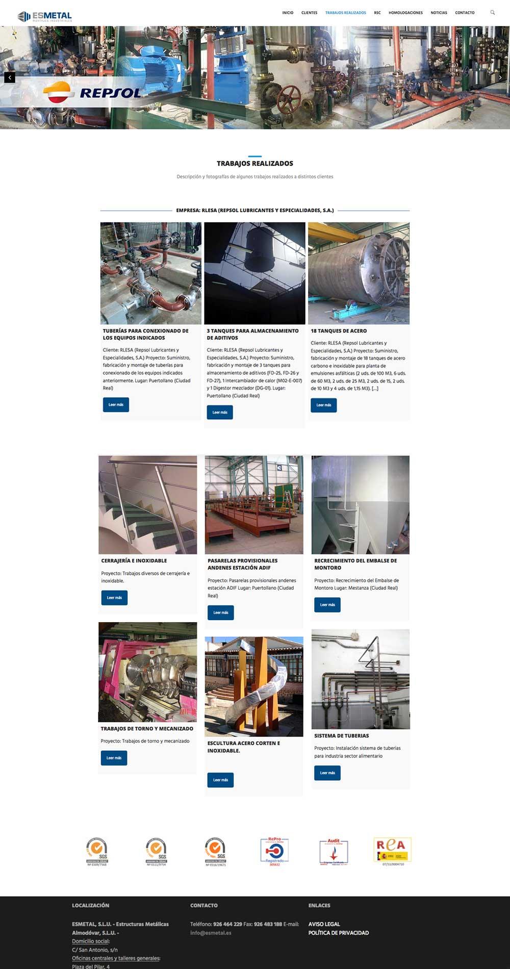 Página web para Estructuras metálicas Almodovar