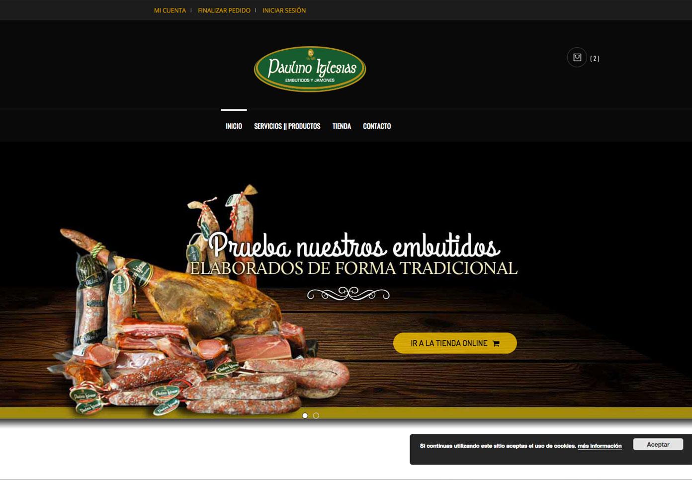 Pàgina web para embutidos Paulino Iglesias
