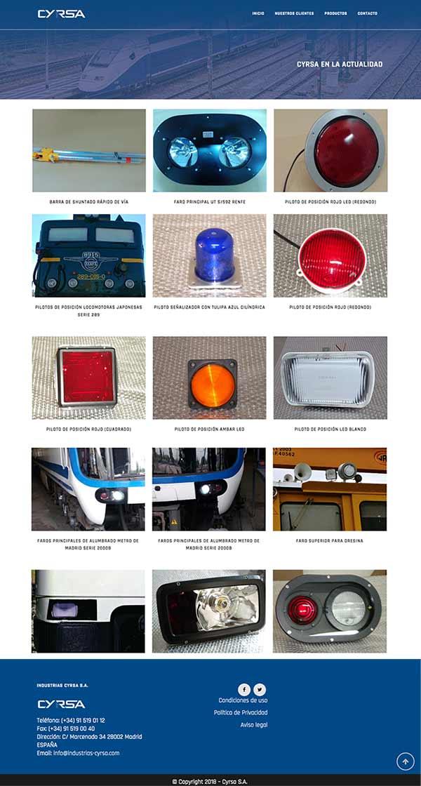 Diseño de cátalogo online para productos ferroviarios